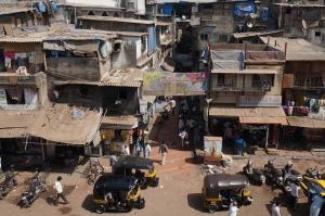 Slum near Bandra Station, Mumbai, India.